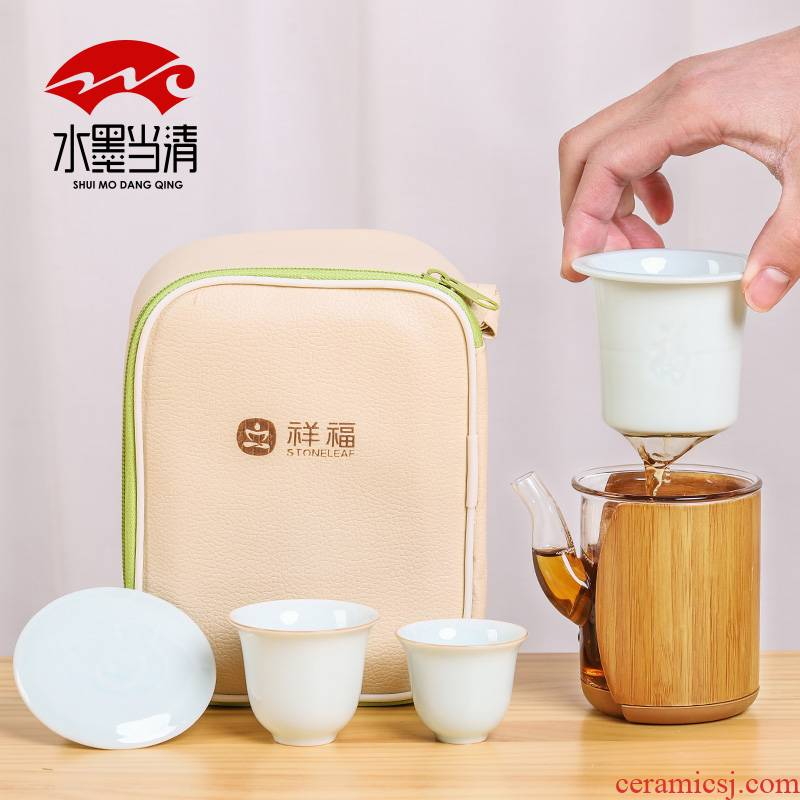Two glass cup to crack a pot of Two cups of travel kung fu tea set suit portable bag in Japanese simple household ceramics