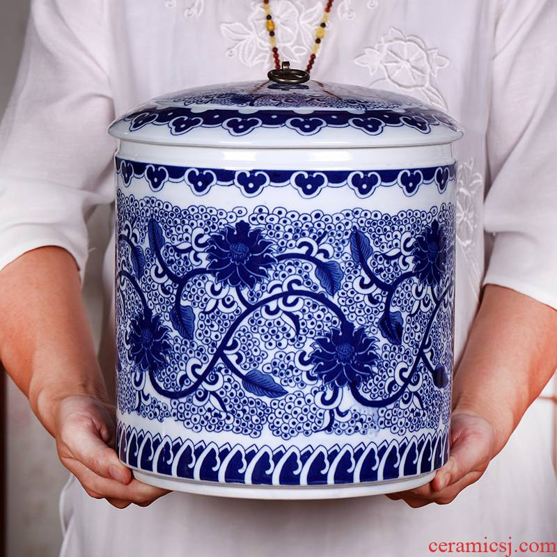 Caddy fixings large blue and white porcelain is jingdezhen ceramic storage POTS sealed as cans household storage tank receives tea restoring ancient ways