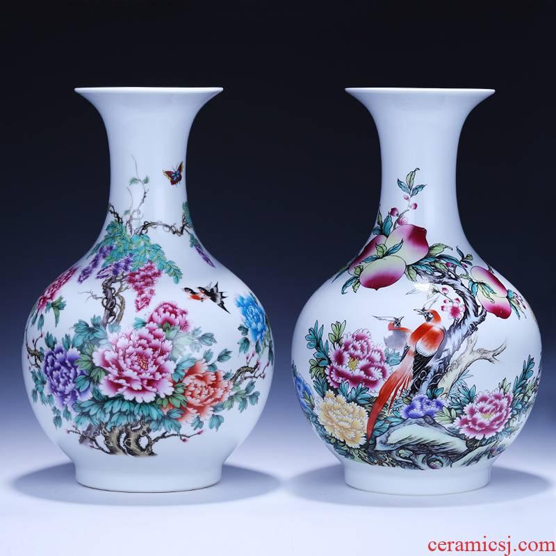 Jingdezhen ceramics powder enamel vase furnishing articles of modern Chinese style household flower arrangement sitting room TV ark, wine accessories