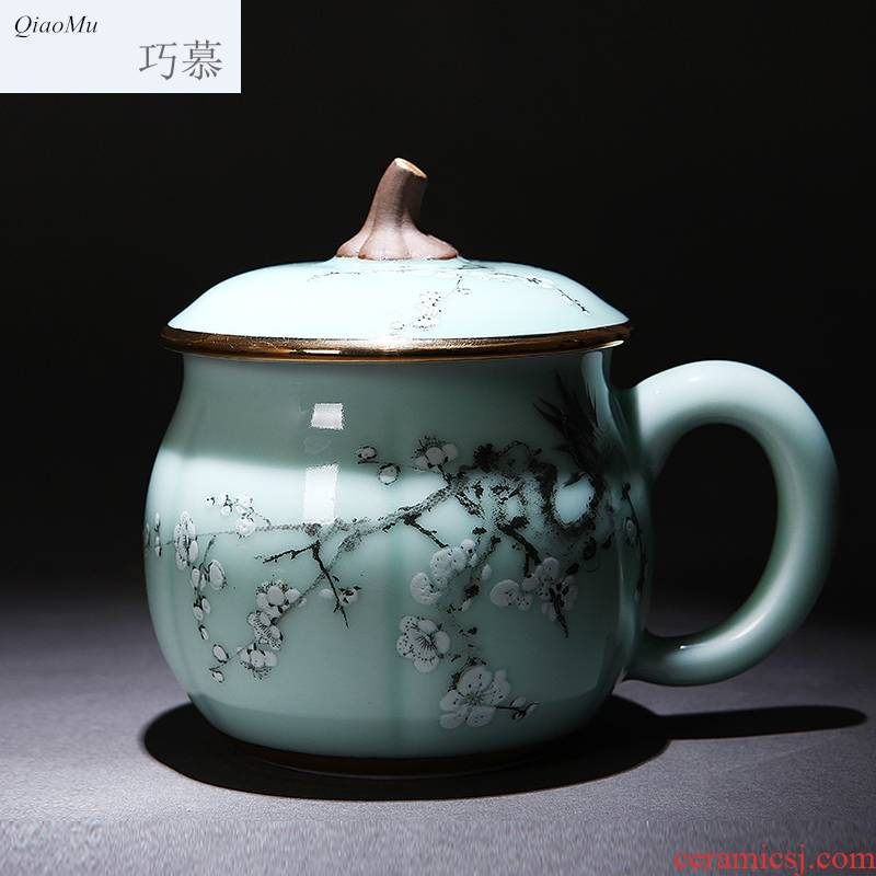 Qiao mu gold coloured drawing or pattern longquan celadon keller cup cup office pumpkin a cup of tea cups with cover cups