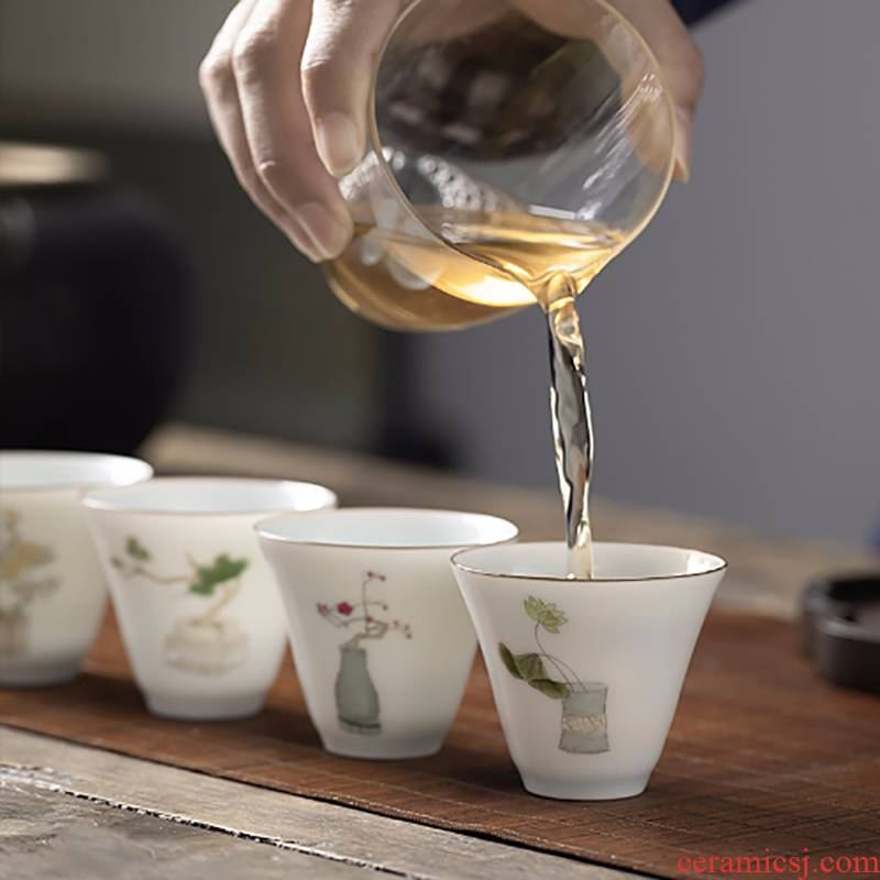 The Master cup single CPU jingdezhen hand - made ceramic tea sample tea cup single small white porcelain cups, kung fu tea set