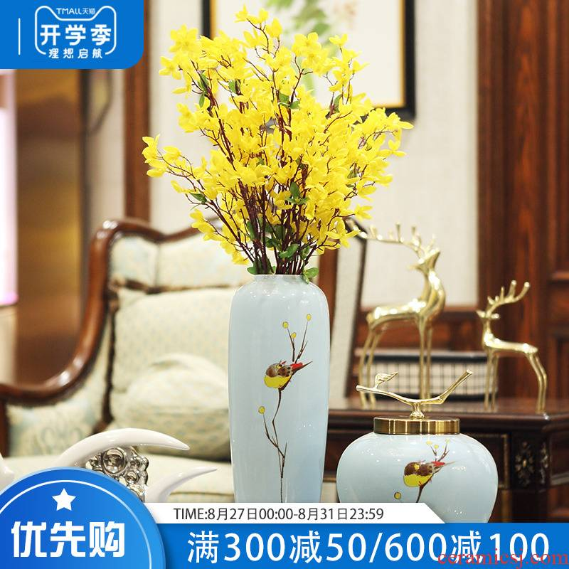 Jingdezhen ceramic vase furnishing articles simulation flower flower arranging dried flowers sitting room porch light much TV ark, postmodern contracted