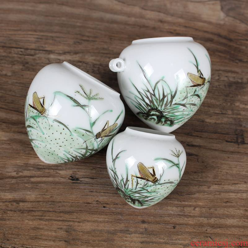 Jingdezhen hand - made pastel insects heart cup bird cage bird seed pot thrush cylinder accessories on sale