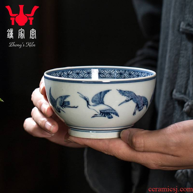 Clock home trade, one cup of single CPU jingdezhen blue and white maintain all hand cranes peach ceramic cups cups male