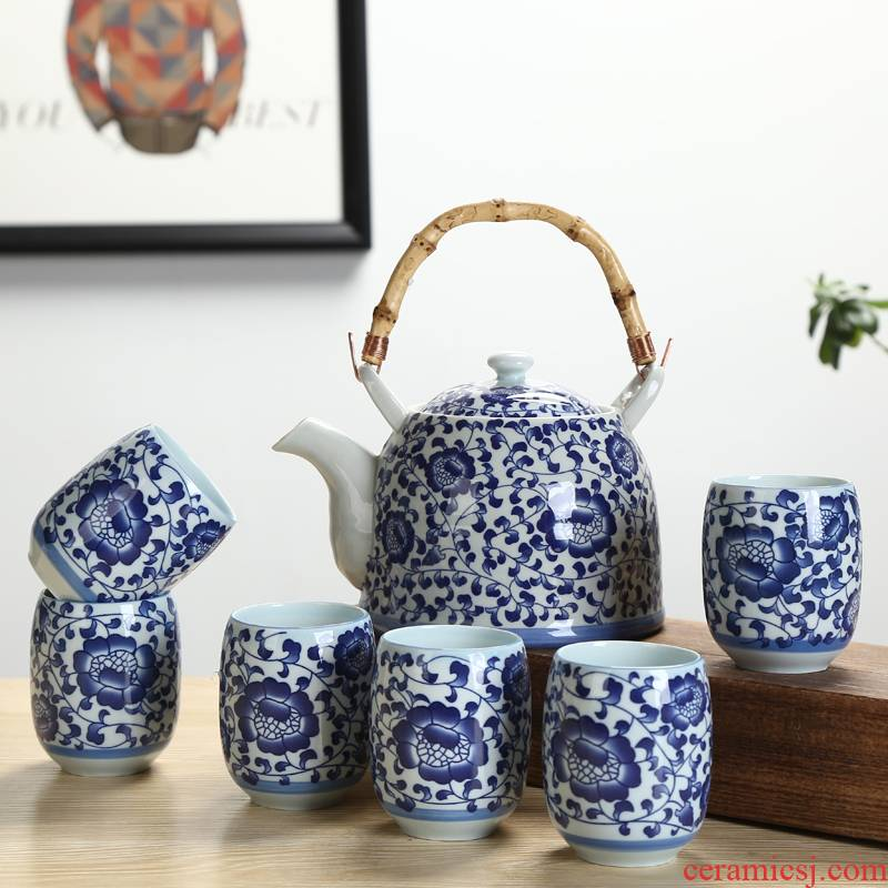 High - capacity ceramic girder pot of tea with the filter tea restaurant with a pot of six cups of a complete set of High temperature resistant household