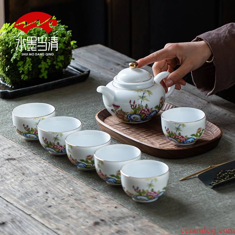 Suet jade jade suit household dehua white porcelain porcelain kung fu tea cups tea POTS thin foetus high - end gift boxes