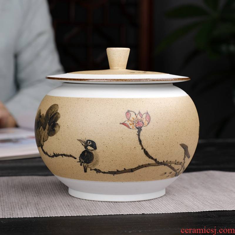 Coarse pottery hand - made ceramic painting of flowers and small tea jar half jins the loaded with cover pu - erh tea POTS with moisture storage POTS