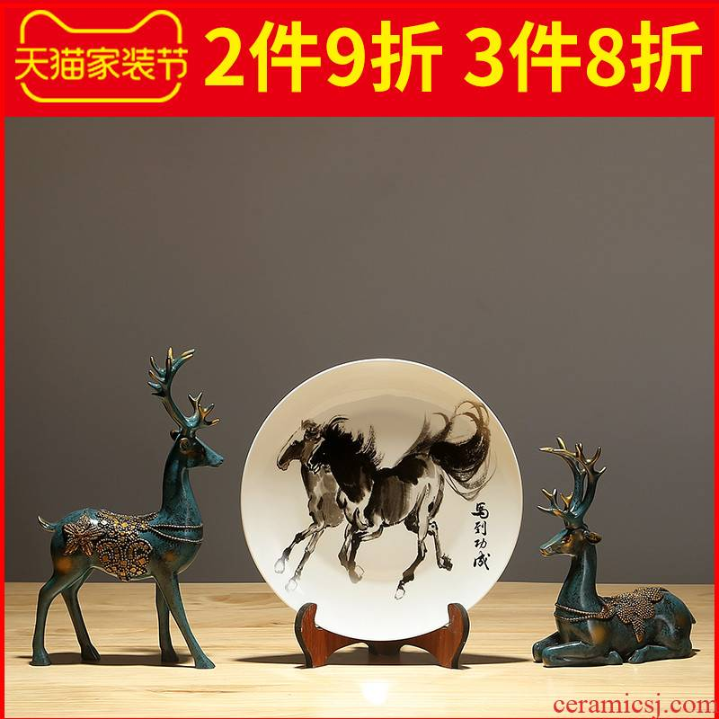 Jingdezhen hang dish sitting room of the new Chinese style household ceramics decoration plate of TV ark, wine I and contracted furnishing articles