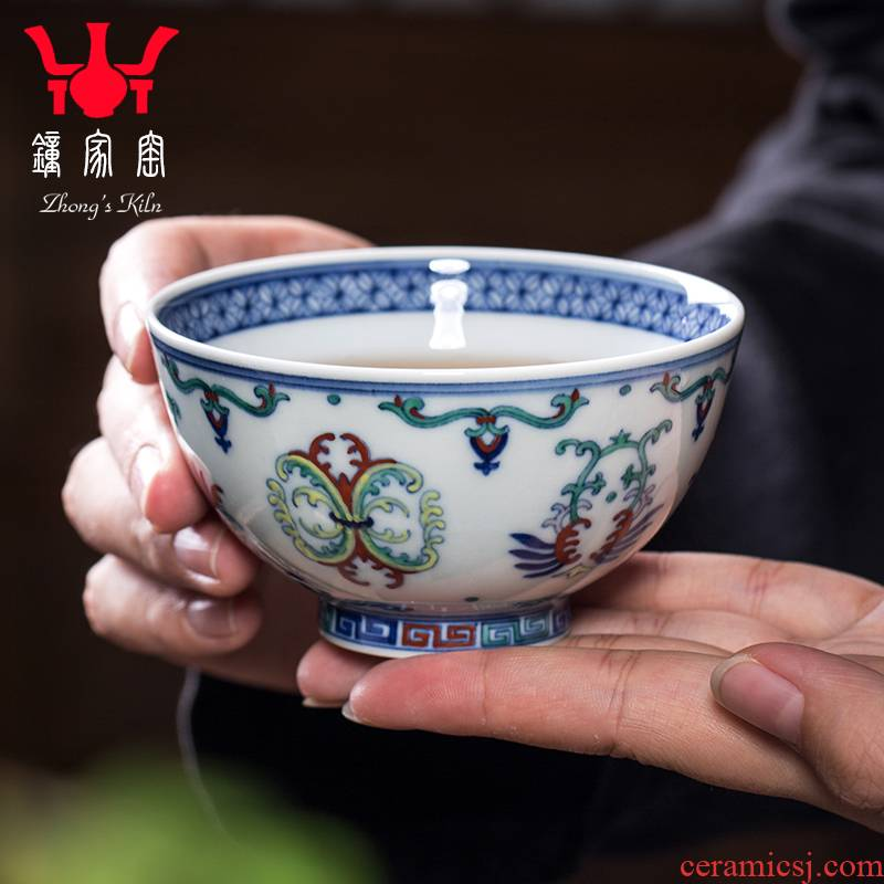 Clock home trade, one cup of single CPU jingdezhen blue and white maintain tea set all hand bucket colors branch lines kung fu tea cups