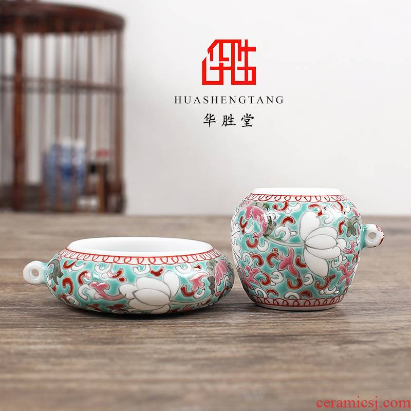 Jingdezhen hand - made green space around branch lotus silver eyes cup two woolly bird feed tank CPU cage accessories