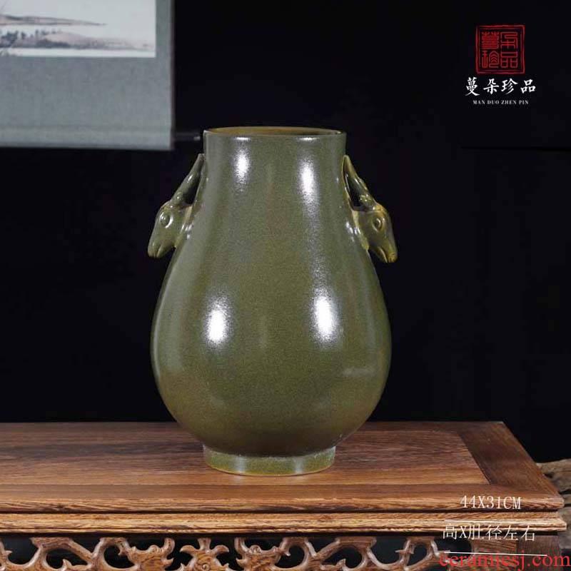 Jingdezhen tea at the end of the deer head display vase classical ancient ancient sweet patina mesa mesa vase