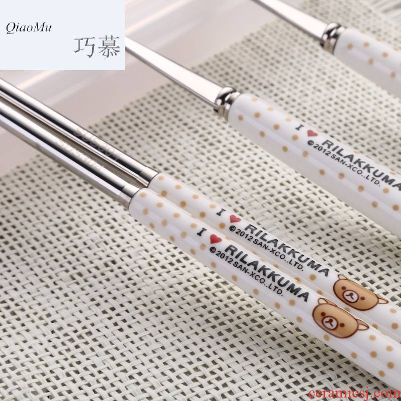 Qiao mu WLS South Chesapeake 304 stainless steel chopsticks spoons forks suit children lovely ceramic portable tableware