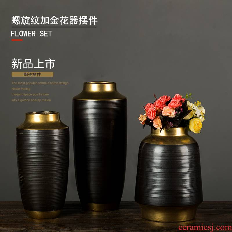 Grain decoration furnishing articles ceramic screw black gold vase three free combination dried flowers flower arrangement sitting room desktop decoration