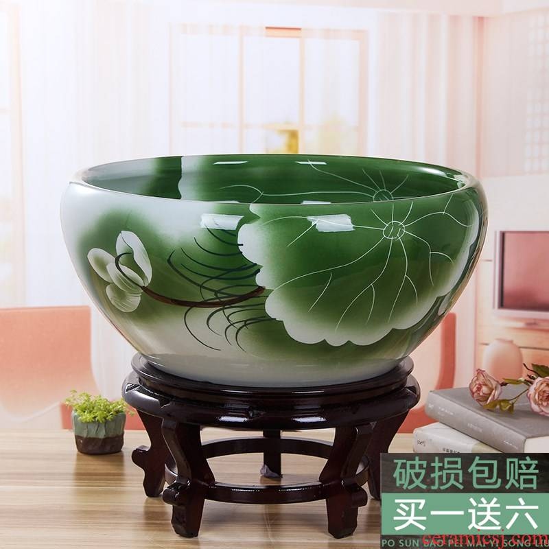 Shuicheng steel vats of household water lily pond lotus lotus cylinder large courtyard ceramic aquarium fish ground flowerpot tank