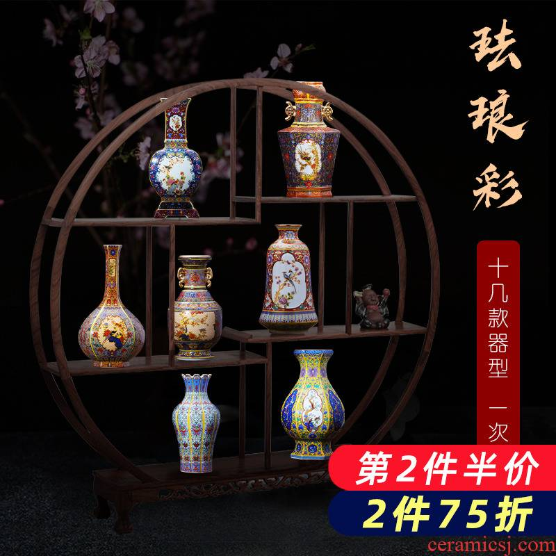 Jingdezhen ceramic vases, antique colored enamel porcelain vases, creative new Chinese style household adornment flower arranging furnishing articles