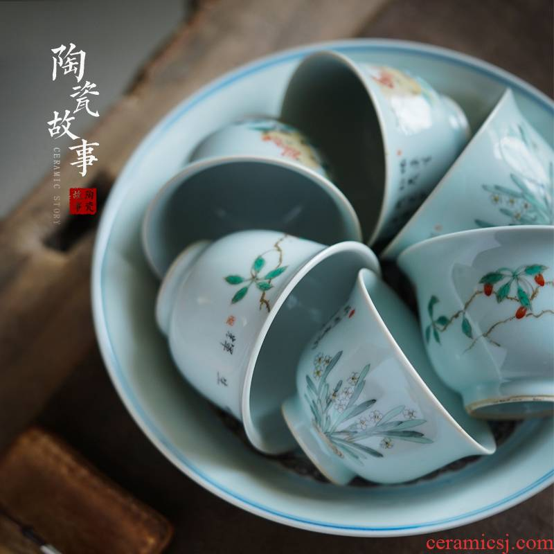 Antique imitation song dynasty style typeface ceramic story all hand hand draw colorful orchid pomegranate medlar tea cup tea cups