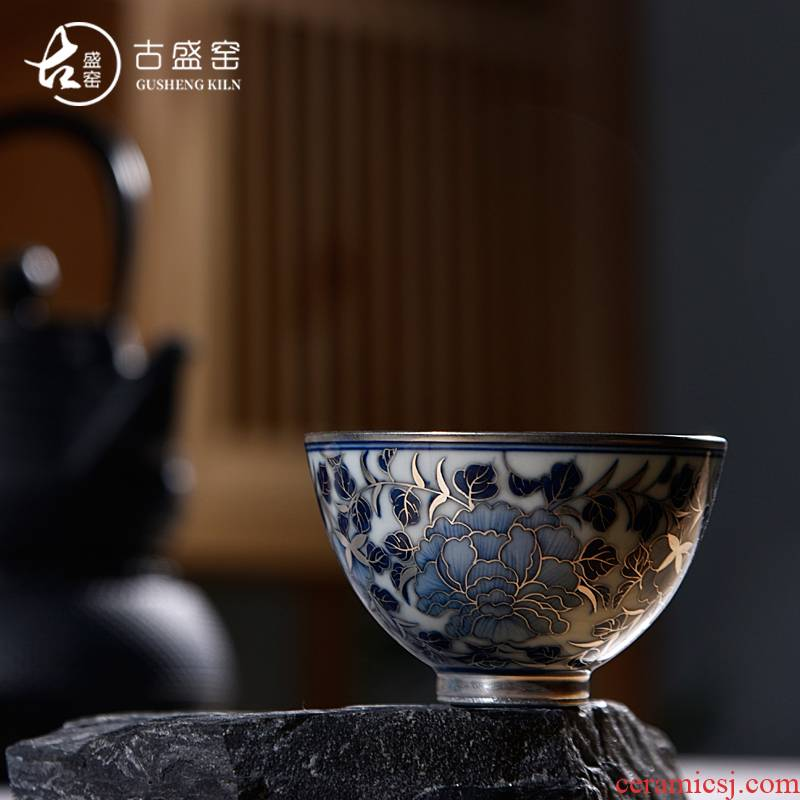 The ancient sheng up new riches and honor peony coppering. As silver sample tea cup 99 sterling silver, jingdezhen porcelain hand kung fu master CPU