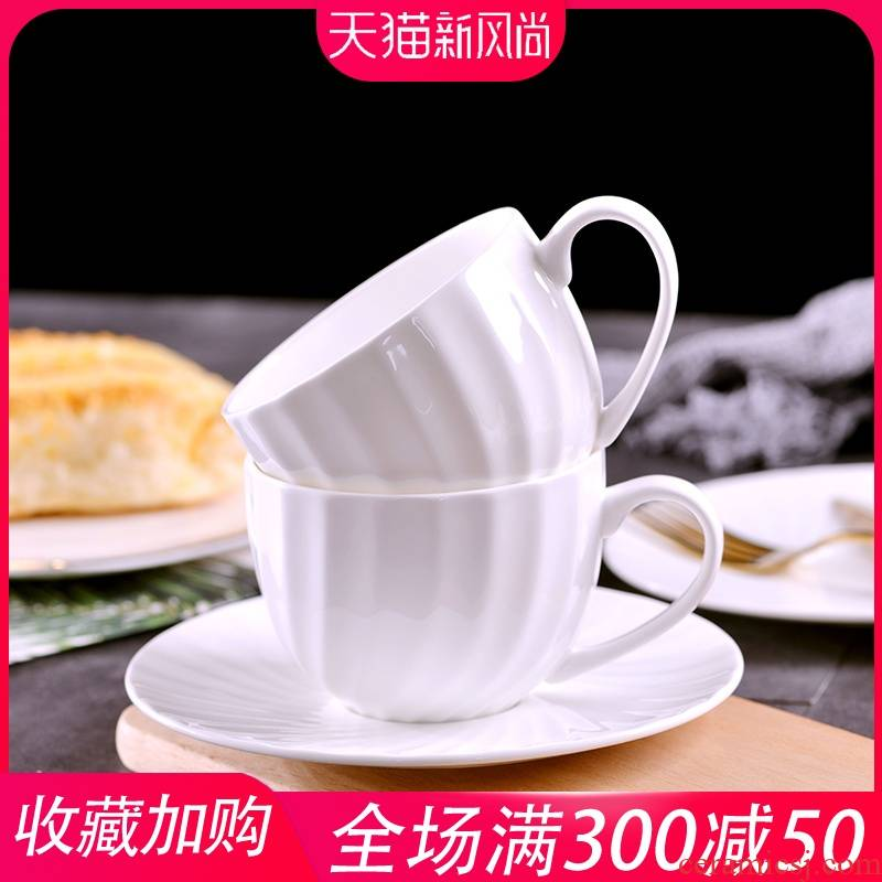 Jingdezhen ceramic coffee cups and saucers ceramic coffee cup European afternoon tea cup white creative keller