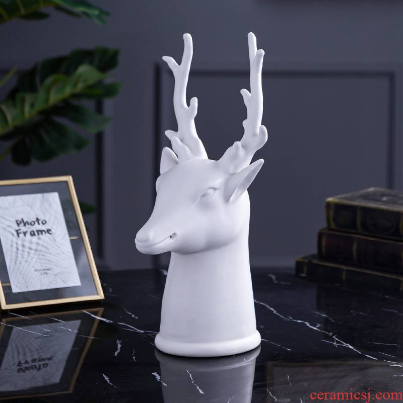 Nordic art ceramic furnishing articles creative wine decoration simple porch deer head decoration display ark, household soft outfit