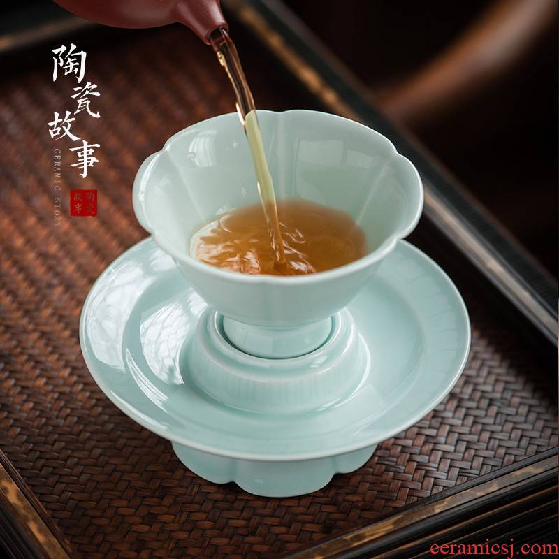 Ceramic story shadow oolong tea light masters cup cup with lace in southern song dynasty contracted household kung fu tea set