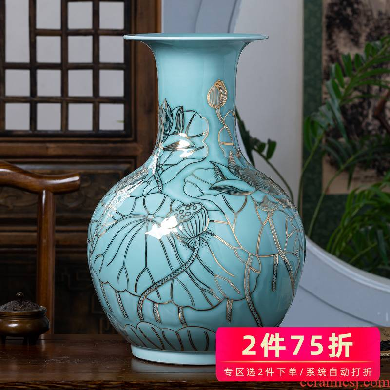 Jingdezhen chinaware lotus pond classical see colour blue glaze furnishing articles of Chinese style living room decoration design hand - made big vase