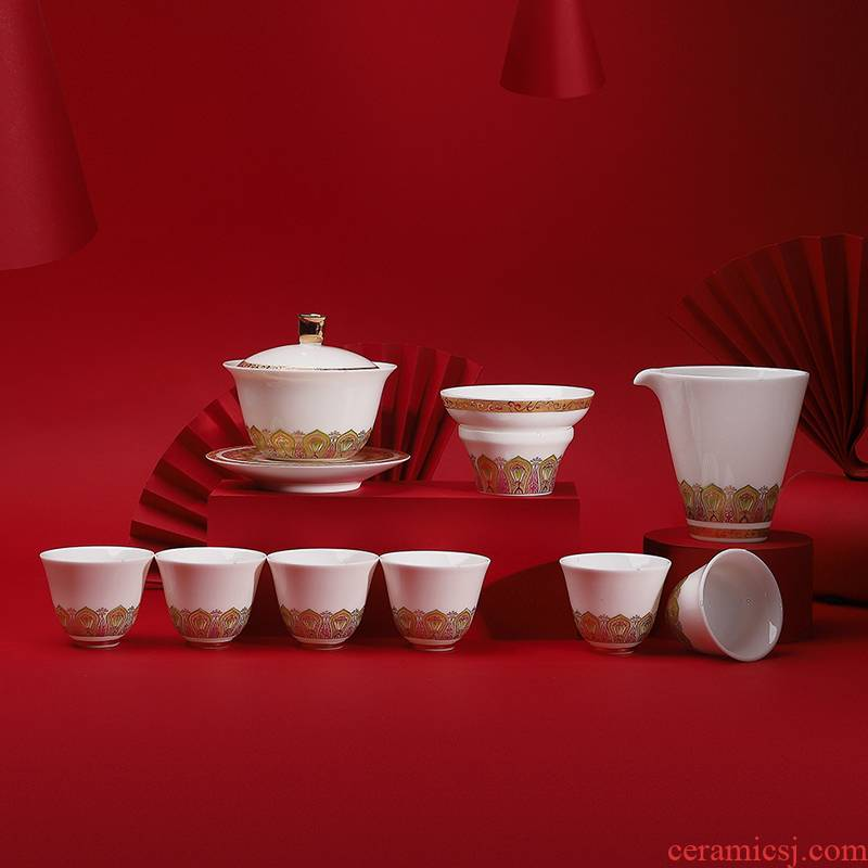 . Poly real scene dehua white porcelain kung fu tea set household Jin Yulian China high - end gift set three tureen support