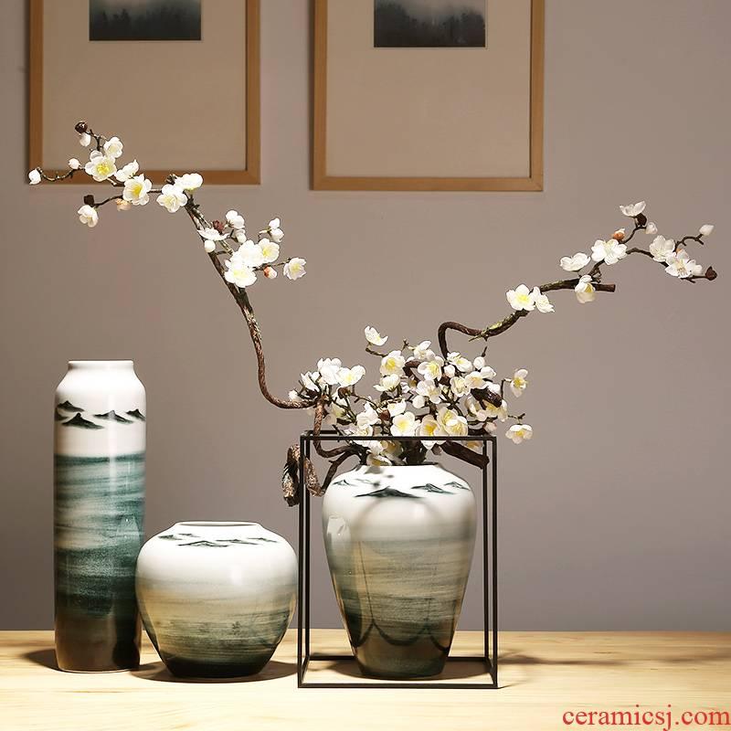 Jingdezhen ceramics flower vase of new Chinese style living room TV cabinet craft vase home furnishing articles