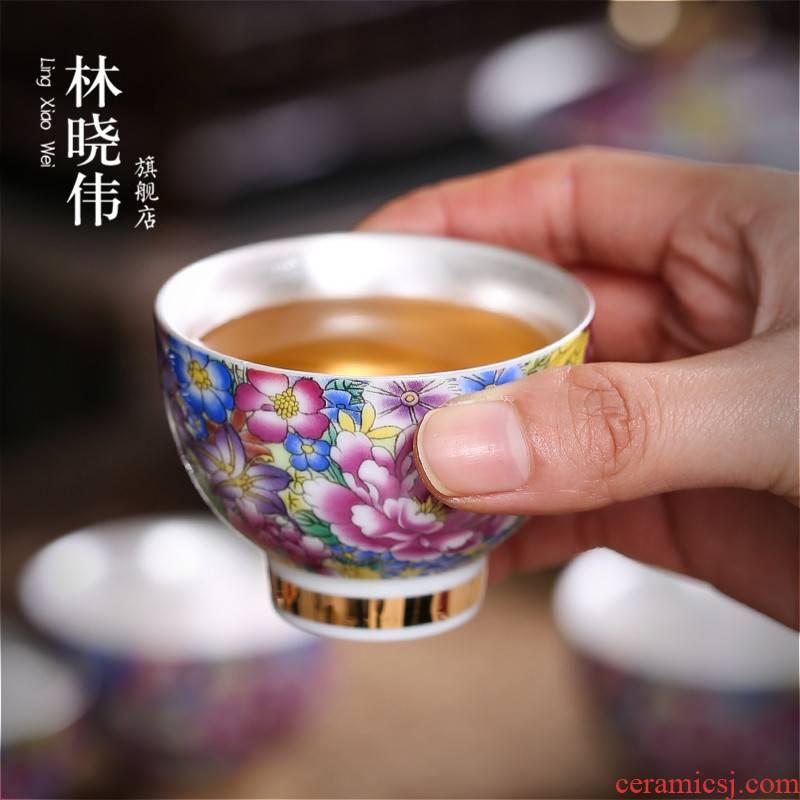 Colored enamel kung fu tea tasted silver gilding ceramic sample tea cup with personal cup of tea service master single CPU pu - erh tea flower tea cups
