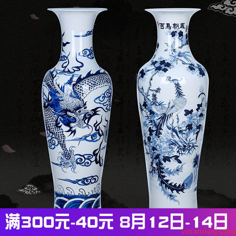 Landing a large vase hand - made porcelain of jingdezhen ceramics longfeng sitting room decoration to the hotel lobby furnishing articles of feng shui