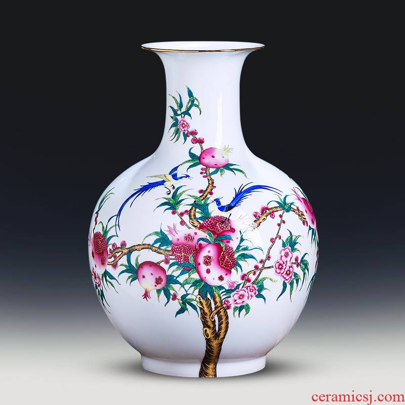 Jingdezhen ceramics powder enamel thin foetus vase sitting room of Chinese style household porcelain of TV ark, flower adornment furnishing articles