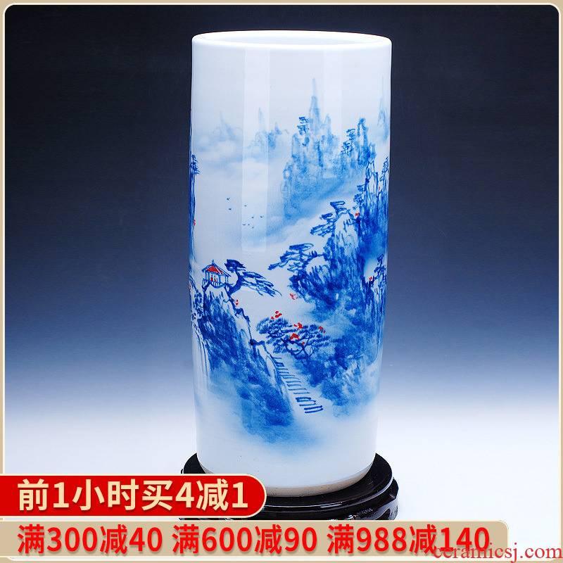 210 hand - made scenery quiver jingdezhen ceramics painting and calligraphy calligraphy and painting scroll painting cylinder cylinder tube umbrella barrel of large vase