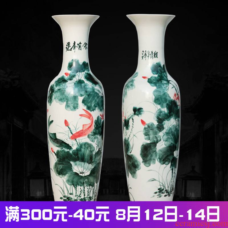Jingdezhen ceramics landing large vases, hand - made lotus years sitting room adornment is placed more household for the opening