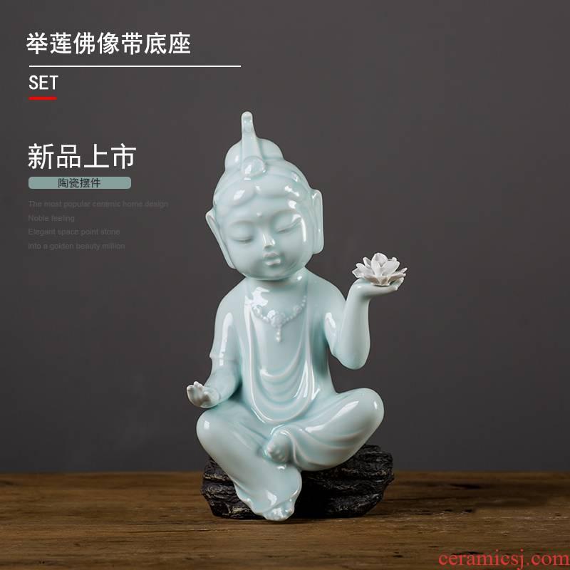 Celadon ceramic zen zen furnishing articles guanyin Buddha zen meditation Buddha express with lotus study home furnishing articles