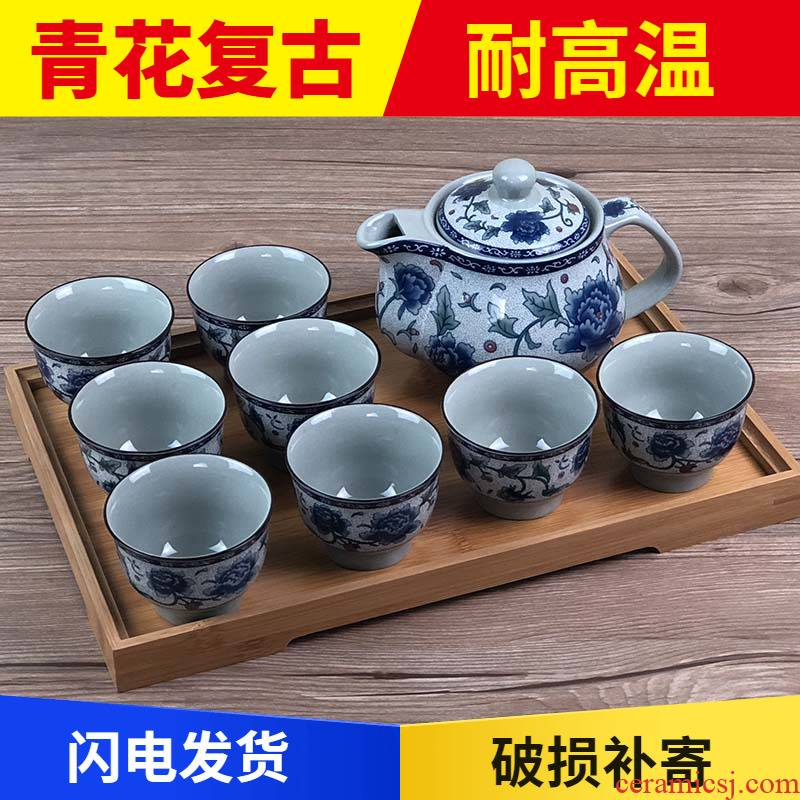 Jingdezhen blue and white porcelain teapot teacup suit belt filter side put the pot of household contracted and I kung fu tea set