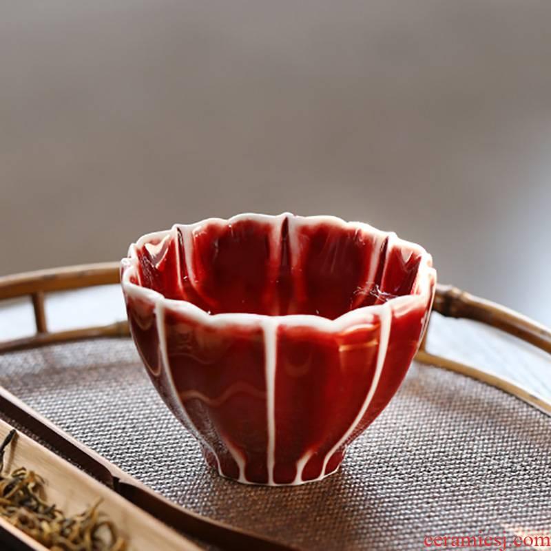 Undressed ore ruby red glaze jingdezhen ceramic cups kung fu tea tea, pure manual single cup sample tea cup master CPU