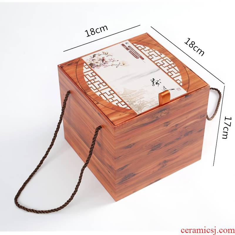 Ceramic tea pot wooden box packaging customization empty canister who was orange seal POTS, tea gift boxes to the custom