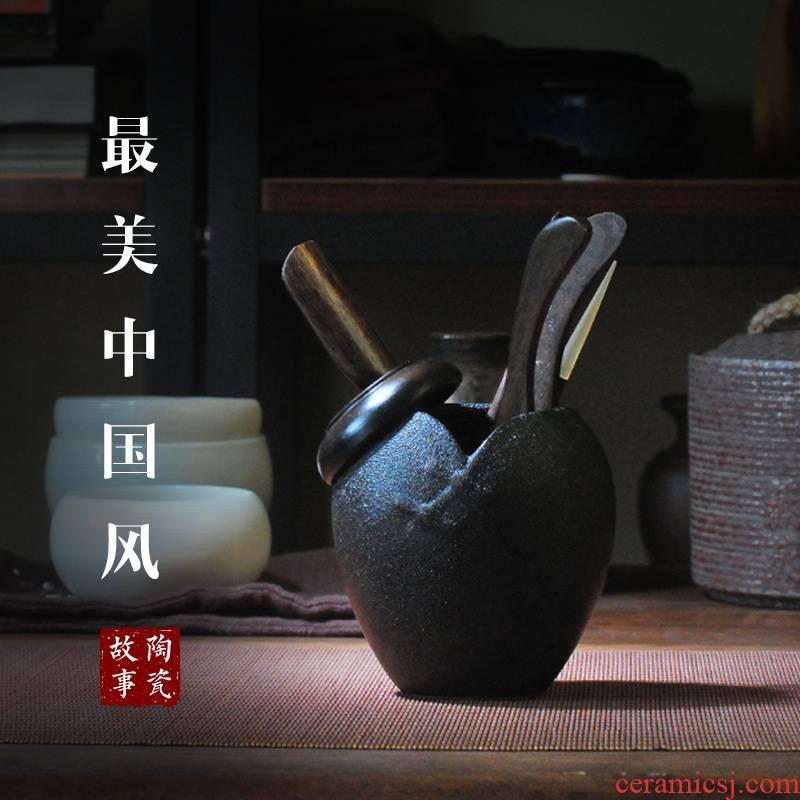 Ceramic story ebony wood make tea tea six gentleman 's kit 6 gentleman of household utensils accessories