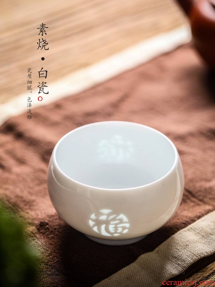 White porcelain sample tea cup kung fu noggin jingdezhen master cup single cup pure manual hail and exquisite ceramic cups of tea