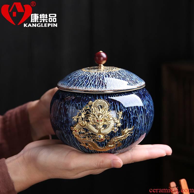 Recreational product obsidian variable temmoku glaze caddy fixings have the silver jingdezhen porcelain pot storage POTS small creative tea