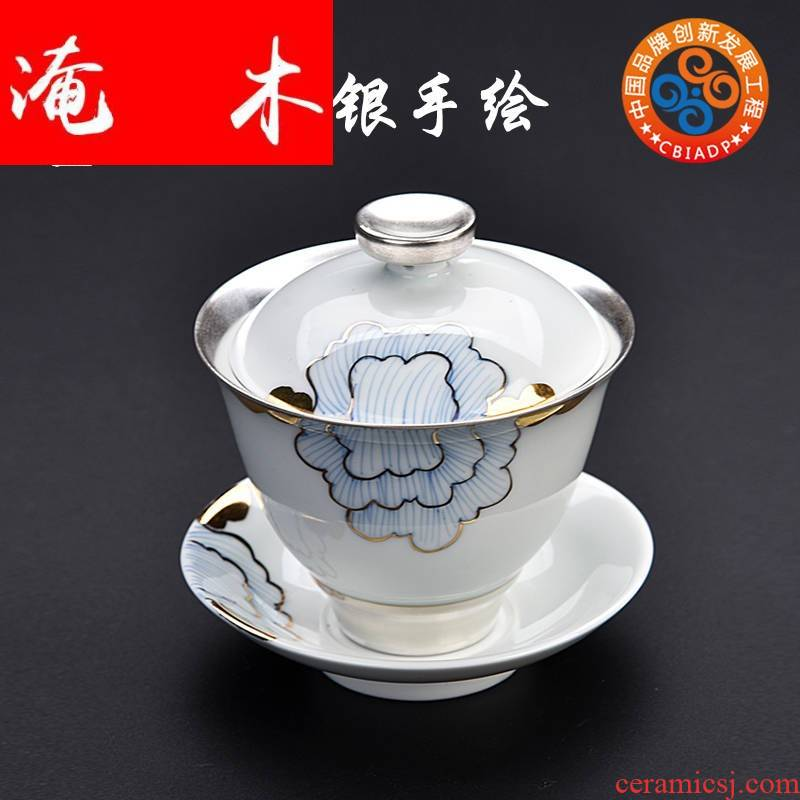 Submerged wood gode jade porcelain hand - made coppering. As silver tureen large celadon bowl is only three home tea, kungfu tea set