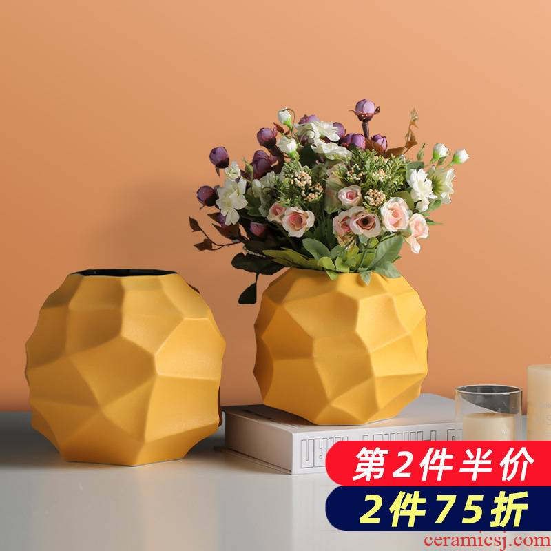 Northern wind geometric vase dried flower ceramic flower arranging creative TV ark adornment furnishing articles contracted sitting room table