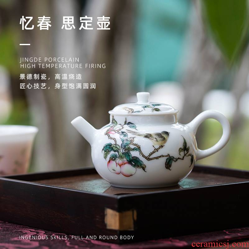 Mountain sound have spring think pot of pure manual painting jingdezhen ceramic teapot kung fu tea set a single the teapot