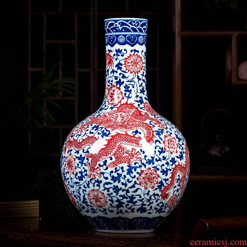 Jingdezhen ceramics glaze color hand - made under archaize youligong red blue and white porcelain vase tree decorations furnishing articles
