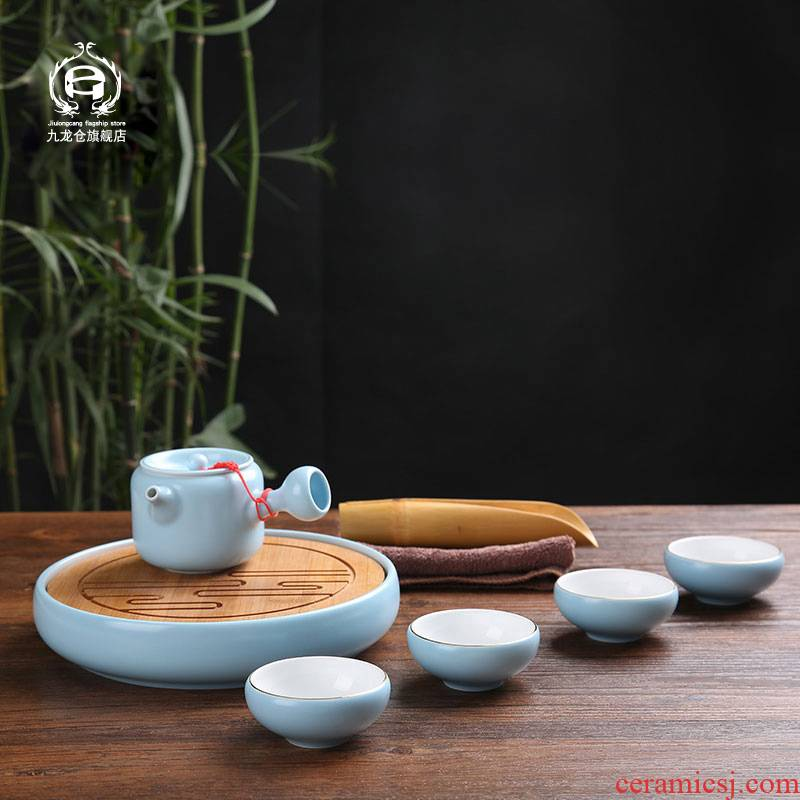 Jingdezhen kung fu tea set ceramic small household small tea tray teapot tea cups of a complete set of I and contracted