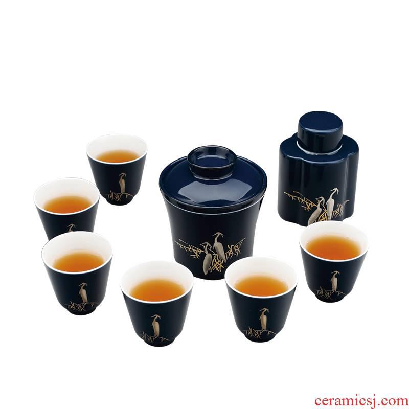 A clearance hongying tureen tea set tea pot of blue and white porcelain cup tureen