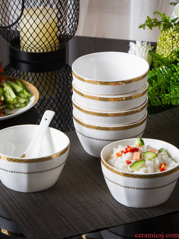 Jingdezhen ceramic bowl with the packed 10 dishes suit European creative contracted ipads porcelain tableware to eat rice bowls