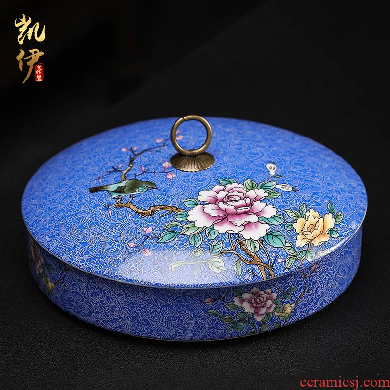 Colored enamel court wind puer tea cake canned tea is tea cake box storage box of jingdezhen ceramic tea tea accessories