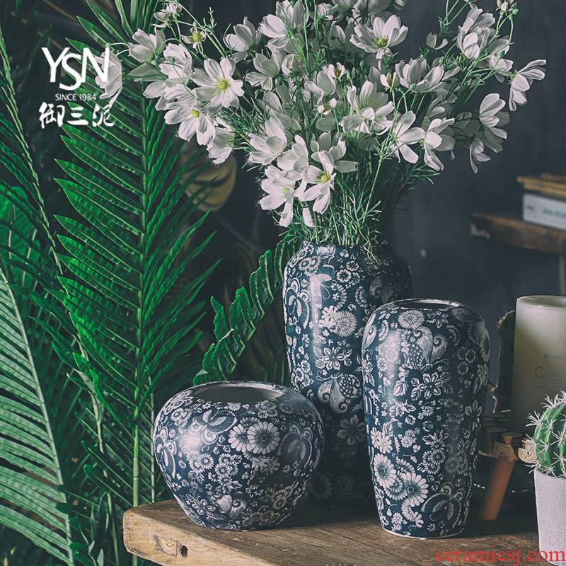 Royal blue and white vase three mud mesa of jingdezhen ceramic flower arranging furnishing articles of American new Chinese zen sitting room adornment