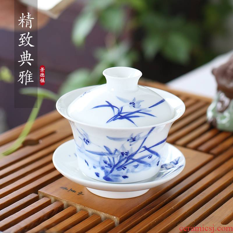 The Poly real view jingdezhen tureen hand made blue and white porcelain cup three only a single large ceramic bowl of kung fu tea set