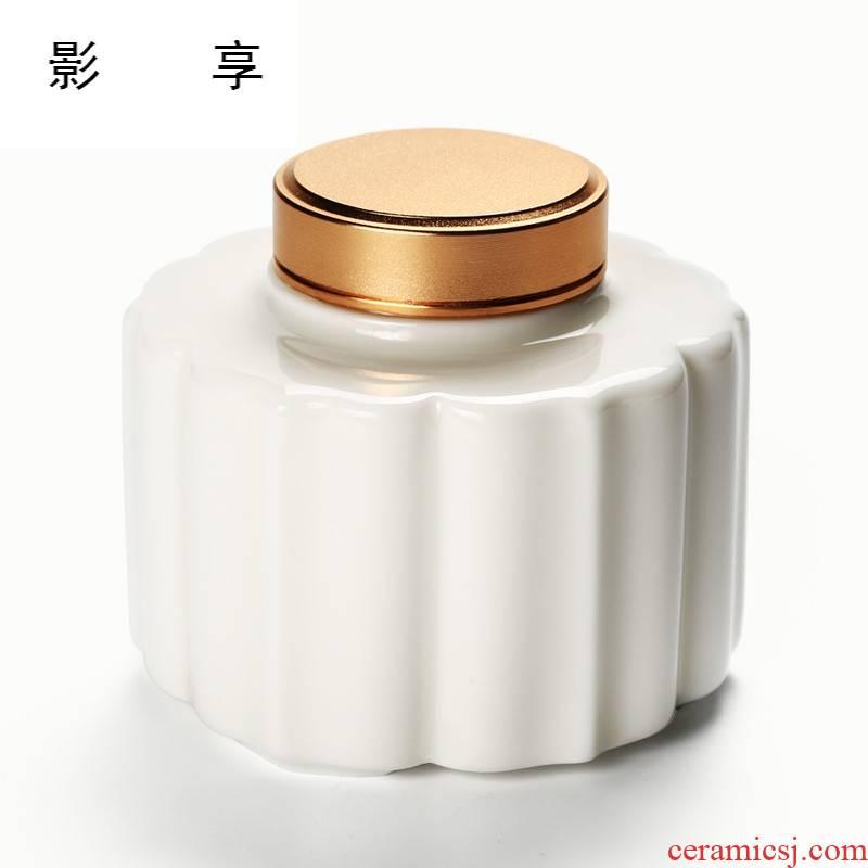 Shadow at white porcelain tea pot of fat white seal POTS small mini POTS portable tea YPQ box